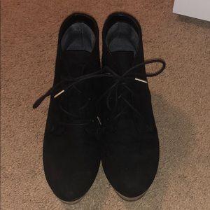 Black wedge high heels
